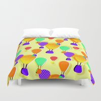 hot air balloons Duvet Covers featuring Hot Air Balloons (Yellow) by Ingrid Castile