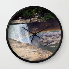 Rainbow at Falls Wall Clock