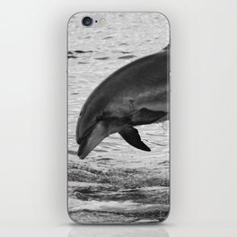 Jumping wild bottlenose dolphin black and white iPhone Skin