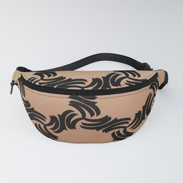 Bold abstract pattern in sophisticated black on a gradient terra-cotta background  Fanny Pack
