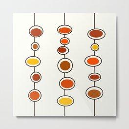 Mid Mod Bubbles in Orange Metal Print