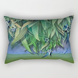 """Spring Forest of Surreal Leaf litter and flowers"" Rectangular Pillow"