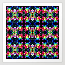 Colorful  Bright Seamless Flower Pattern Art Print