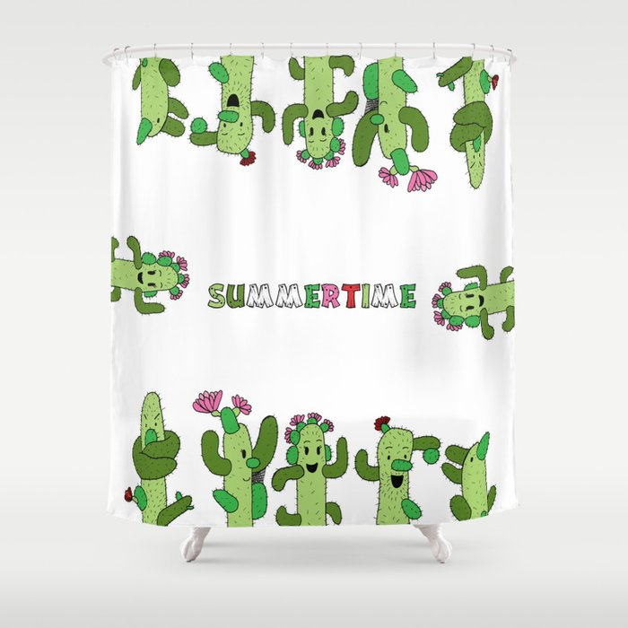 Cactus Family (colour version) Shower Curtain