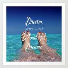 Dream Your Most Wonderful Dreams - Ocean Beach Swim Art Print