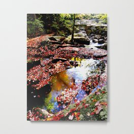 Autumn leaves in the river Metal Print