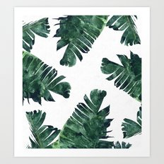 Banana Leaf Watercolor Pattern #society6 Art Print