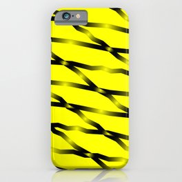 Slanting black lines and rhombuses on yellow with intersection of glare. iPhone Case