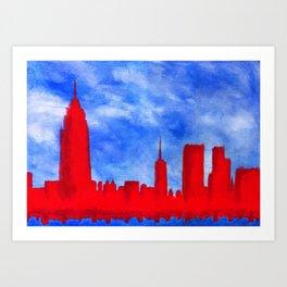 Bright Lights, Red City Art Print