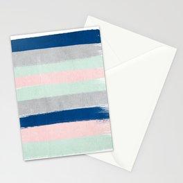 Minimal painted stripe pattern nursery decor trendy gender neutral colors Stationery Cards