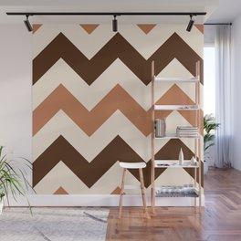 Wide Retro Zigzag Pattern Cream Rust Brown Wall Mural