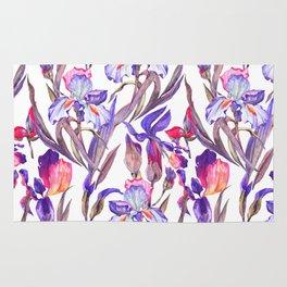 Modern artistic violet pink watercolor hand painted irises pattern Rug