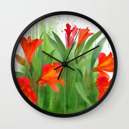 Red - orange flowers, watercolors Wall Clock