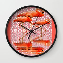 Tropical Coral Flamingo's Reflecting Pool Art Wall Clock