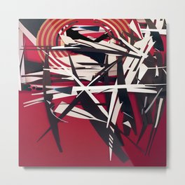 The Target- Red, Black and White Modern Abstract Metal Print
