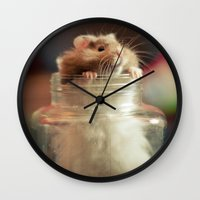 hamster Wall Clocks featuring Hungry Hamster by EmilyBest