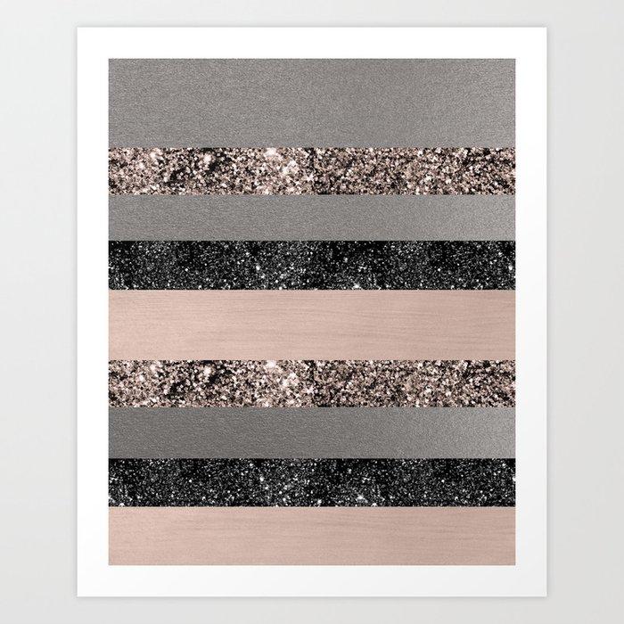 Blush Glitter Glam Stripes #1 #shiny #decor #art #society6 Kunstdrucke