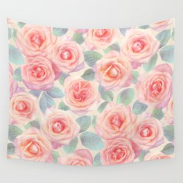Opal Pink and Peach Painted Roses Wall Tapestry