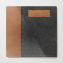 """A series of """"Covers for notebooks"""" . Cover for the notebook . Grey with brown . Metal Print"""