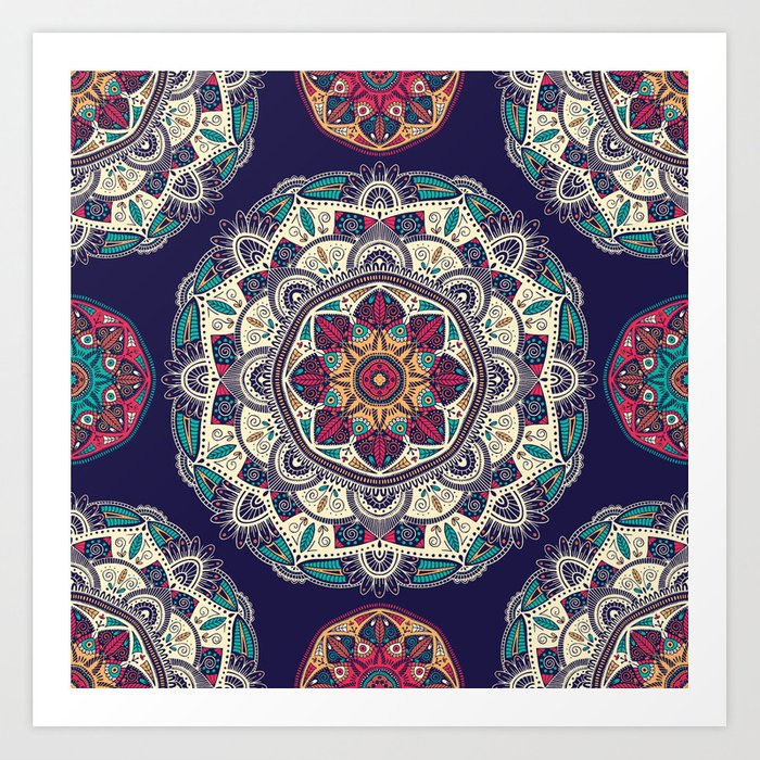 Colorful Mandala Pattern 007 Art Print