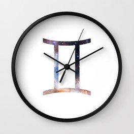 Starry Gemini Symbol Wall Clock