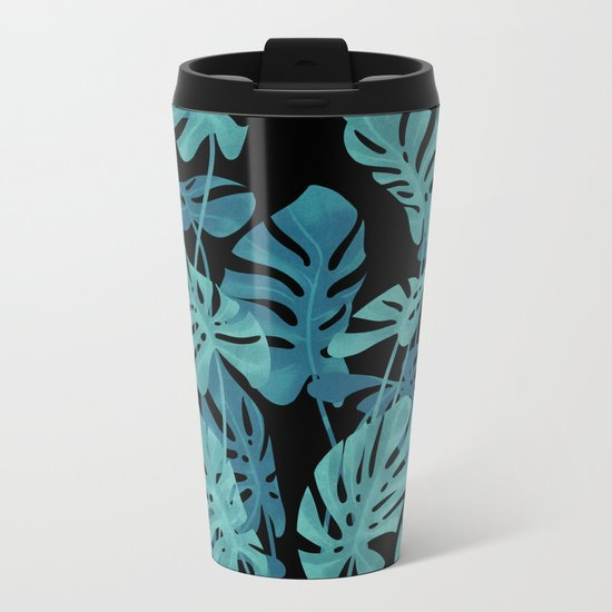 Graphic Monstera leaves. Metal Travel Mug