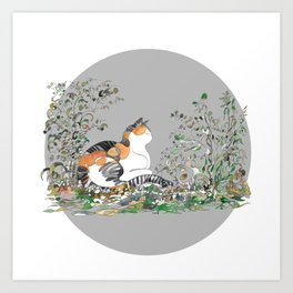 Calico Cat In The Garden Art Print