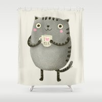milk Shower Curtains featuring I♥milk by Lime