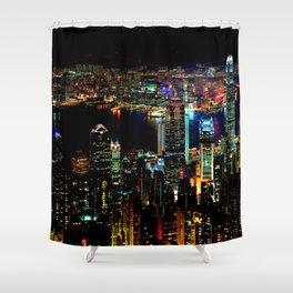 Hong Kong City Skyine Black Night Shower Curtain