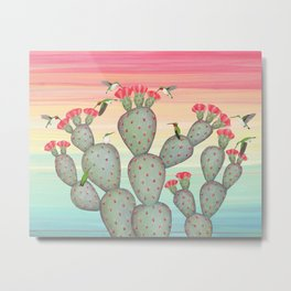 ruby throated hummingbirds & prickly pear cactus Metal Print