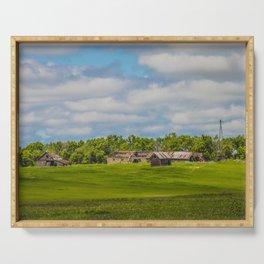 Jumbled Abandoned Farm, Burleigh County, North Dakota 2 Serving Tray