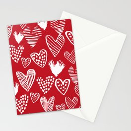 Herats red and white pattern minimal valentines day cute girly gifts hand drawn love patterns Stationery Cards