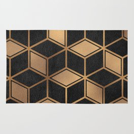 Charcoal and Gold - Geometric Textured Cube Design II Rug