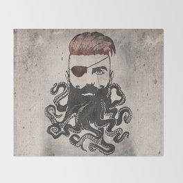 Black Beard Throw Blanket
