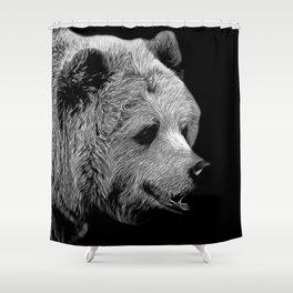 kodiak brown bear vector art black white Shower Curtain