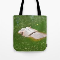 hippo Tote Bags featuring Hippo by Doodlevania