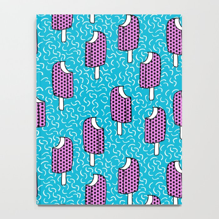 Bite Me - popsicle throwback 80s style memphis dots pattern trendy hipster summer ice cream Notebook