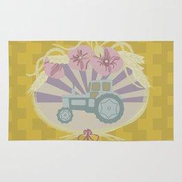 I Heart Tractors - mustard Rug