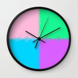 QUARTERS #1 (Pink, Light Blue, Light Green & Light Purple) Wall Clock