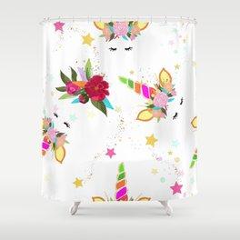 Magical Unicorn Colorful Shining Shower Curtain