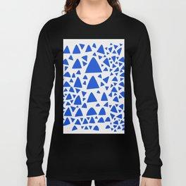 Blue Triangles Abstract Minimal Art Long Sleeve T-shirt