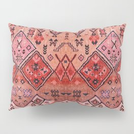 N52 - Pink & Orange Antique Oriental Traditional Moroccan Style Artwork Pillow Sham