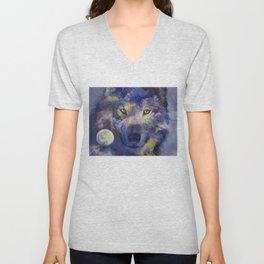 Grey Wolf Moon Unisex V-Neck