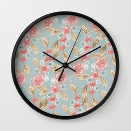 Floral Patterns x Dusty Blue Wall Clock