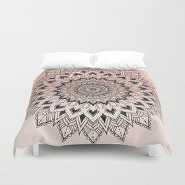 Boho black watercolor floral mandala rose gold glitter ombre pastel blush pink Duvet Cover