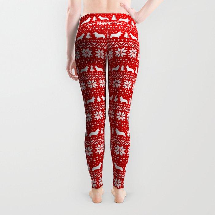 Cardigan Welsh Corgi Silhouettes Christmas Sweater Pattern Leggings