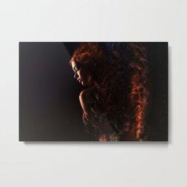 WOMAN IN FLAMES Metal Print