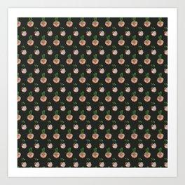 Cacti Black Art Print
