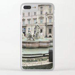 3 legged man in Piazza Navona Rome Italy Clear iPhone Case