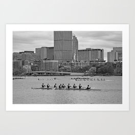 Charles River Rowers Boston MA Black and White Art Print